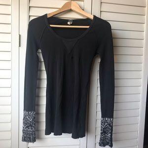 Free People Black Long Sleeve, Detailed Shirt
